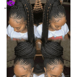 micro tresses cheveux synthétiques Promotion Perruques de corne de maïs tressées à la main naturelles boîte de coiffure noire tresses synthétiques avant de lacet perruques pour les femmes noires micro tresses perruque avec des cheveux de bébé