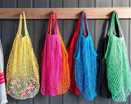 color tote bags Promo Codes - Reusable Shopping Grocery Bag 14 Color Large Size Shopper Tote Mesh Net Woven Cotton Bags Portable Shopping Bags Home Storage Bag