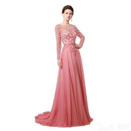 Perla gioiello online-2019 New Long Evening Dress Illusion Jewel Neck Perle con cintura A-Line Piano Lunghezza Tulle Economici Celebrity Party Gown Prom Dress