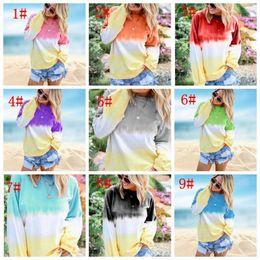 2019 padrões de roupas de maternidade Mulheres Gradiente de cor do arco-íris Hoodies shirt em torno do pescoço manga comprida Casual Tops Autumn Sweater 10 cores KKA7557-1
