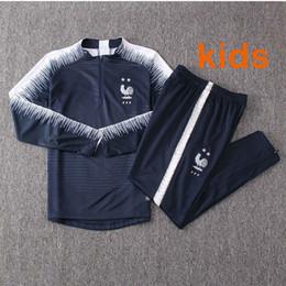 Costume star pour les enfants en Ligne-2019 2 Etoiles Maillot de Foot maillots pour enfants football footing Equipe de France nouveau costume de piste d'entraînement de survêtement de football à manches longues