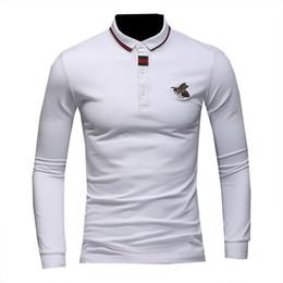 Polo de luxe en Ligne-Polos De Luxe Hommes Designer Petites Abeilles De Mode Polo Shirts pour Hommes Tees Chemises Automne Pull Hot Top Vêtements 3 Couleurs Taille M-4XL