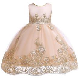 I vestiti dalla ragazza del fiore chiffoni infantili online-Carino blu bianco rosa bambini piccoli bambini Flower Girl abiti principessa gioiello collo breve abito formale per matrimoni prima comunione vestito XF21