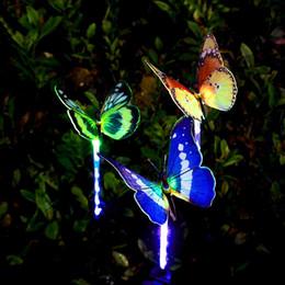 grossista fibra óptica borboleta Desconto Jardim Solar Luzes Ao Ar Livre, Multi-Cor Mudando Solar Powered LED Fibra Óptica Borboleta Luzes Decorativas, Quintal Decorações Da Arte Por Atacado