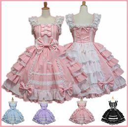 Robe alice en Ligne-Femmes Alice Lolita Ange Rose Coton Princesse Court Style gothique Tank Costume Mignon Anime Maid Layer Dress Pour Les Filles Q190521
