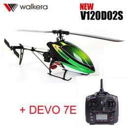 2019 helicópteros walkera Original Walkera Nuevo V120D02S Helicóptero + DEVO 7E Transmisor MINI 3D 6CH 6-Axis Gyro RC helicóptero con batería + cargador helicópteros walkera baratos