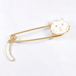 Camicia collare nera online-New White Black Cat Head Spilla Pins Cartoon Animal Kitten Spilla per le donne Bambini T-Shirt Pin Collar Personalità Carino distintivo gioielli