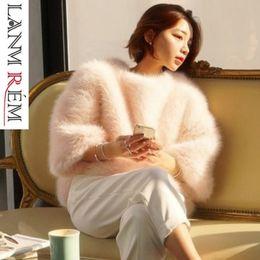 Меховые рукава толстовки онлайн-LANMREM 2019 пуловер Batwing рукавом искусственный мех свободные толстовка корейский теплая куртка Осень Зима удобные топы TA028