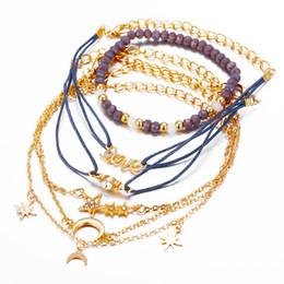 2019 mondcharme armband Love Star Moon Charms Armbänder Sets 6 STÜCKE Multilayer Perlen Seil Armbänder Armreifen Schmuck Zubehör für Hochzeit Strand Frauen Mädchen Böhmen günstig mondcharme armband