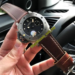 Лучшие черные наручные часы онлайн-Лучшая версия PAM00569 Левша P9000 Автоматический черный циферблат Titanio с решеткой PAM00382 Мужские часы Титановый корпус с кожаным ремешком Спортивные часы