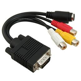 vga cavi di colore Sconti Cavo convertitore adattatore VGA a S-Video 3 RCA composito AV TV da 100 pezzi per PC laptop (colore: nero)