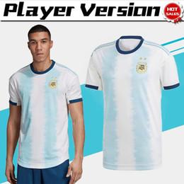 uniformes de equipo de futbol Rebajas Jugador versión 2019 Copa América Argentina inicio camisetas de fútbol # 10 MESSI # 22 LAUTARO 19/20 Camiseta de fútbol 2019 Equipo nacional Uniformes de fútbol