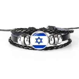 israel flags Promo Codes - 2019 Black Genuine Leather Rope Beaded Bracelet Bangles Fashion Glass Cabochon Israel National Flag World Cup Football Fan Women Men Jewelry