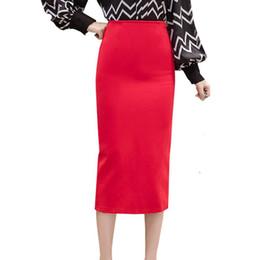 Женская красная юбка-карандаш онлайн-Красный Карандаш Юбки Женские Весна Лето Середины Икры Черная Юбка Офис Леди Элегантный Высокой Талией Длинная Юбка