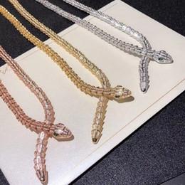 2019 tier-choker Designer Mode Kubikzircon Stein Tier Schlange große Choker Halskette 925 Sterling Silber Schmuck weibliche Bijoux für Frauen rabatt tier-choker