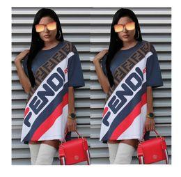 b1fa26b2a3e7 2019 mini abiti sportivi FF Lettera Dress Estate Casual Party Dresses Donna  Sport T-shirt