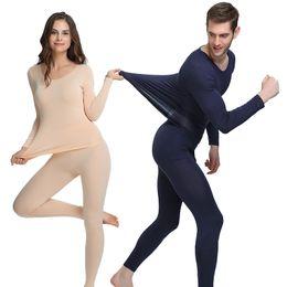 Termo calentador online-ZYSK Ropa Interior Térmica para Mujeres Hombres Softwarm Transpirable Cálido Pijamas Thermos Long Johns Ropa para Mujer Tops + Pantalones 2 Unids Traje
