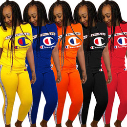 girl clothes leggings Promo Codes - Women Champions Letter Tracksuit Short Sleeve T-shirt Tops + Pants Leggings 2 piece set CHAMPI T Shirt Outfit Jogger Sportswear Clothes A362