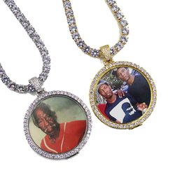 picture chains Coupons - Hip Hop Iced Out Custom Picture Pendant Necklace with Rope Chain Charm Bling Jewelry For Men Women