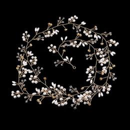 2019 hochzeitskopf perlen Handgemachte Kristall Perle Perlen Lange Stirnband Kopfschmuck Braut Haarband Tiaras Hochzeit Haarschmuck Zubehör Braut Kopf Kette BH günstig hochzeitskopf perlen
