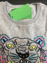 Mejor abrigo de calidad online-Venta al por mayor la mejor calidad KENZ0 paris bordado cabeza de tigre logo suéter O-cuello sudaderas jumpers Abrigos abrigos chaquetas Gris