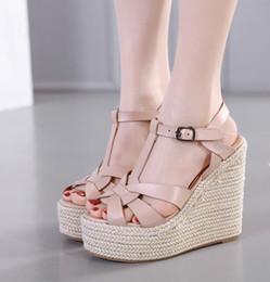 2020 sandalias de tejer diseño atractivo las sandalias de cuña sandalias de las señoras de punto tejido de paja zapatos de plataforma de las mujeres de lujo se desliza tamaño de 35 a 40 rebajas sandalias de tejer