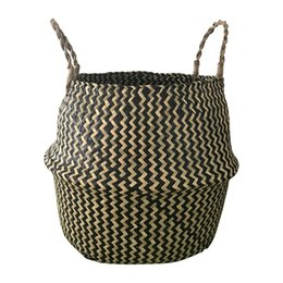 baskets for clothes storage Coupons - Portable Foldable Natural Seagrass Woven Storage Basket with Handle for Home Decorations Plant Pot Clothes Toys Picnics