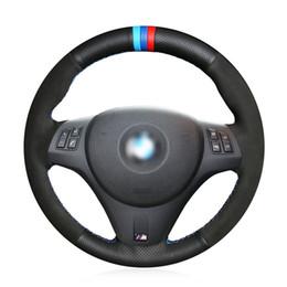 2019 cuero genuino de bmw Negro Gamuza genuino antideslizante cubierta de la rueda cómodo dirección de coches cosido a mano para BMW M3 E92 2009-2013 rebajas cuero genuino de bmw