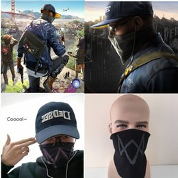 Schwarze hundeschablone online-Watch Dogs 2 Mask Marcus Holloway Halloween-Party-Schlüssel Cosplay Baumwollripp Gewebe Maske Neues Spiel schwarze Farbe