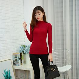 Suéter de invierno de corea online-2019 Moda Color sólido Otoño Invierno Suéter de las mujeres Estilo coreano Cuello alto femenino con suéter de encaje para mujer FS8223