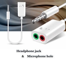 doppelkopfhörerbuchse Rabatt 50PC 3,5 mm Double Jack Kopfhörer-Teiler-Mikrofon Audio-Adapter 2 in 1 Kopfhörerbuchse Mikrofonloch für Moblie Telefon
