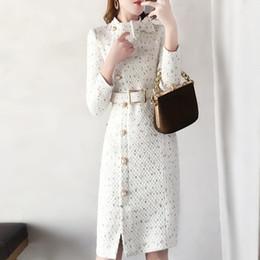 Abiti di lana online-2019 Spring New Woolen Dress Women Fashion Autumn Wool Tweed Dresses Women Elegante Side Split con cintura Vestidos Robes femminili