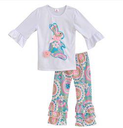 Argentina PASCUA Toddler Girl Boutique Trajes Bebé blanco Manga con volantes Tops + estampado floral Pant 2 unids conjunto Primavera Otoño Suministro