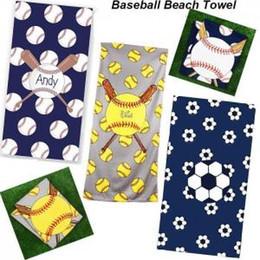 2019 couvertures de patchwork Baseball Serviette de Plage Rectangle Football Softball Serviette Sport Microfibre Serviettes de Bain Couvertures Superfine Fibre Amalant 150 * 75cm GGA1579 couvertures de patchwork pas cher
