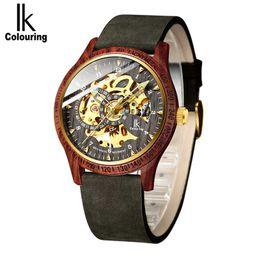 2019 ik relojes para colorear Reloj de los hombres Moda Casual Caja de madera Crazy Horse Correa de cuero Reloj de madera IK para colorear Esqueleto Mecánico Automático Masculino Relogio rebajas ik relojes para colorear