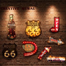 Restaurante pintura decorativa online-20 Estilos Vintage Led Light Letreros de Neón Pintura Decorativa Para Pub Bar Restaurante Cafe Publicidad Señalización Colgando Letreros de Metal Y19061804