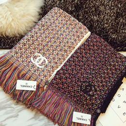 Lenços de malha para mulheres on-line-190x65CM Knitting Wool Plaid Mens lenço Homens Lenços Mulheres Winter Xaile Womens Anel Poncho SCAFA27