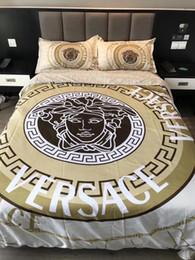 Letti europei online-Set biancheria da letto in cotone con stampa 4 pezzi Lenzuolo copriletto in cotone per Europa e America