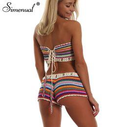 ac34597340 Simenual Rainbow Striped Crochet Set Women Summer Swimwear Handmade Sexy  Beachwear Hot Boho Hollow Out Bathing Suits Bandage New Q190507 handmade  crochet ...