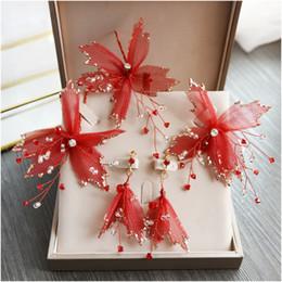 Pelo chino de la novia de la boda online-Rojo crepé pinzas para el cabello de novia tocado de novia china de la boda de la flor del pelo pendientes y accesorios chinos