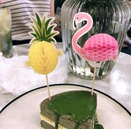 2019 decorações de frutas para festas Abacaxi 3D Flamingo Fruta Toothpick Bolo De Decoração De Casamento Flamingos Partido Verde Decorações Decoração De Halloween GB980 decorações de frutas para festas barato
