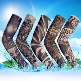 Tatuajes de ciclismo online-Tatuaje de la manga de ciclo del brazo del cuerpo de la manga anti-UV protector solar Conducción Pesca del brazo del tatuaje medias sin costura de la manga elástica manoplas MMA1824-1