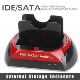 """пластиковый футляр для жесткого диска Скидка 2019 хорошее качество 2.5 """" 3.5 """" 2 SATA 1 IDE HDD жесткий диск Твин док-станция USB HUB Reader внешний HDD корпус Бесплатная доставка 409"""