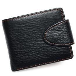 Porte-carte de visite en Ligne-Première couche portefeuille en cuir de vache multi-fonction porte-cartes hommes portefeuilles bouton rétro portefeuille litchi portefeuille en cuir des hommes d'affaires
