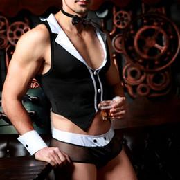 hombres de látex de cadena Rebajas JSY Butler Waiter Lingerie traje de esmoquin de tanga de tanga para hombre con corbata de moño y pulseras trajes atractivos 9823