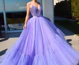 2019 diamantes de sudáfrica Una línea de tul morado Sexy Fiesta larga Vestidos de baile Diamantes Sudáfrica 2019 Nuevos vestidos de noche elegantes y formales diamantes de sudáfrica baratos