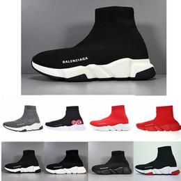 aniversário de couro Desconto Balenciaga Cheap Mulheres Homens Sock Speed Trainer calça as sapatilhas Knitting Deslizamento-na alta qualidade Casual Walking Shoe Comfort All Black Chaussures MK5166