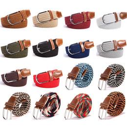 gürtel elastisch gewebt Rabatt Mode Unisex Elastische Stretch Gürtel 40 Farben Frauen Casual Geflochtene Bund Kreative Mens Woven Canvas Dornschließe Gürtel TTA1061