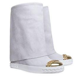 2019 ouro sobre botas de joelho Mais novo Projeto Camurça Inverno Mulheres Na Altura Do Joelho Botas Altas Cadeia De Metal De Ouro Escondido Cunhas Sapatos Azul Dobre Botas de Inverno ouro sobre botas de joelho barato