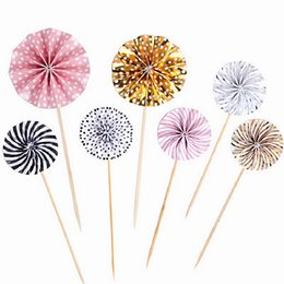 2019 decorazioni di cupcakes di nozze Mini Paper Fan Cake Topper Cupcake Toppers Festa di compleanno per bambini Baby Shower Cake Decoration Flags Wedding Favore Forniture